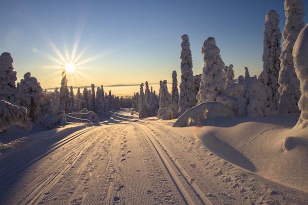 met de auto naar de sneeuw